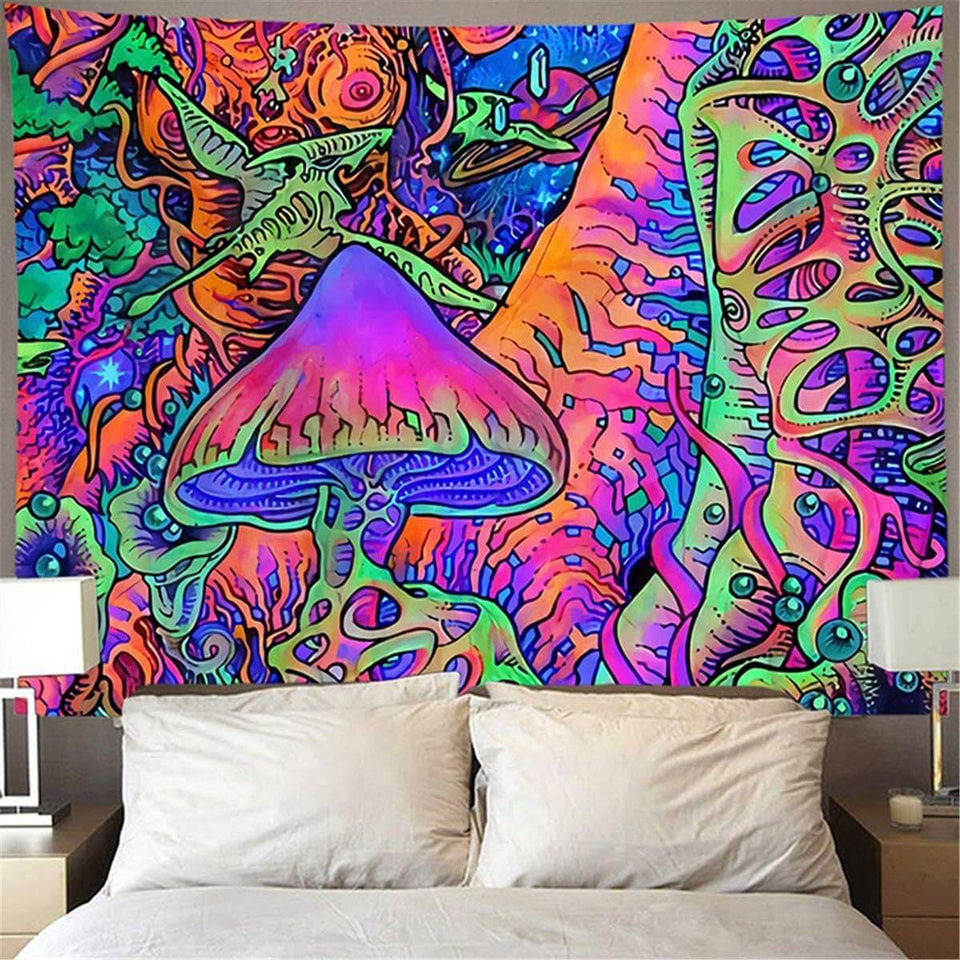 Digital HD Abstract Mushroom Polyester Tapestry (Twin((72x41 Inches)(183x104cms))