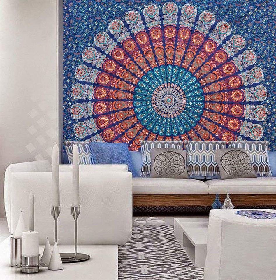 Bless International Golden Blue White Indian Hippie Bohemian Psychedelic Peacock Mandala Wall Hanging Bedding Tapestry