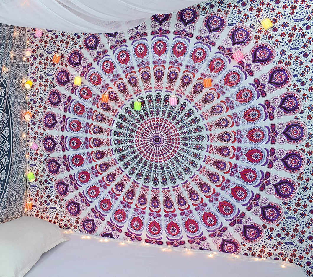 Bless International Indian Hippie Bohemian Psychedelic Peacock Mandala Wall Hanging Bedding Tapestry (Pink Blue, Twin(54x72Inches)(140x185cms)