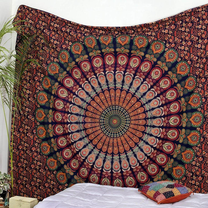 Golden Red Green  Peacock Mandala  Tapestry