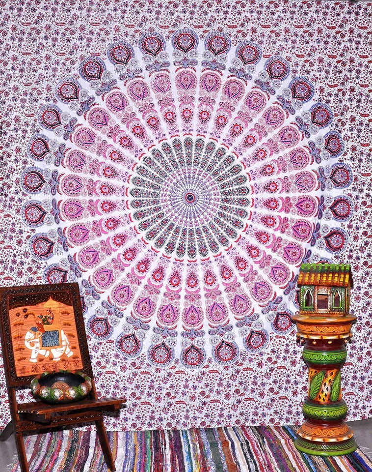 Bless International Indian Hippie Bohemian Psychedelic Peacock Mandala Wall Hanging Bedding Tapestry (Pink Blue, Queen(84x90Inches)(215x230Cms))