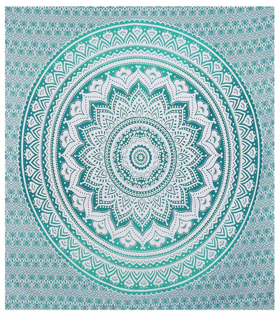 Indian Green Hippie Mandala Bohemian Psychedelic Handmade Tapestry - Bless International - Tapestries & Handicraft Exporter & Retailer - 4