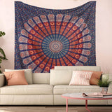 Bless International Indian Hippie Bohemian Psychedelic Peacock Mandala Wall Hanging Bedding Tapestry (Golden Blue White, Queen(84x90Inches)(215x230Cms))