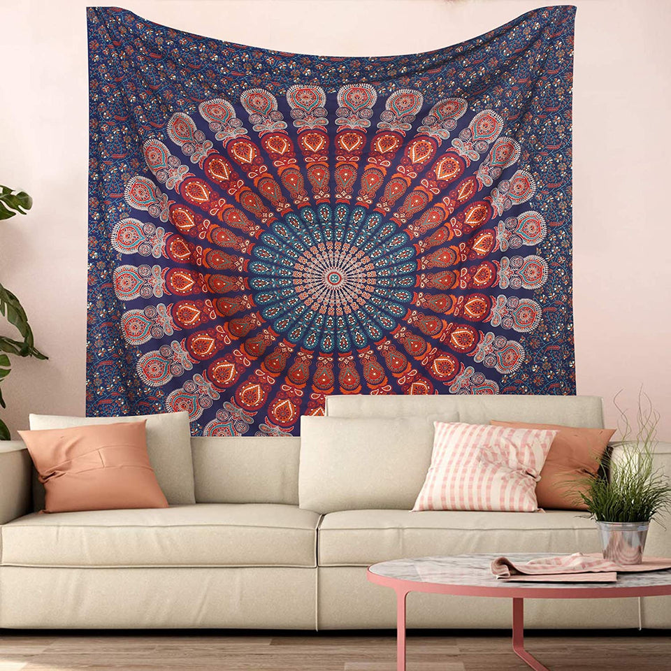 Bless International Indian Hippie Bohemian Psychedelic Peacock Mandala Wall Hanging Bedding Tapestry (Golden Blue White, King(88x104Inches)(225x265Cms))
