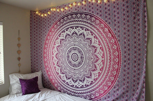 Purple Pink Ombre Mandala Wall Hanging Tapestry