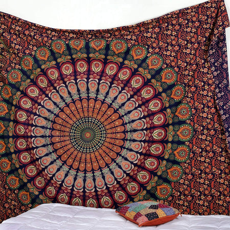 less International Indian Hippie Bohemian Psychedelic Peacock Mandala Wall Hanging Bedding Tapestry (Golden Red Green, King(88x104Inches)(225x265Cms))
