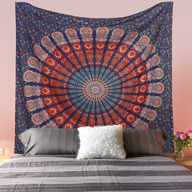 Bless International Indian Hippie Bohemian Psychedelic Peacock Mandala Wall Hanging Bedding Tapestry (Golden Blue White, Twin(54x72Inches)(140x185cms)