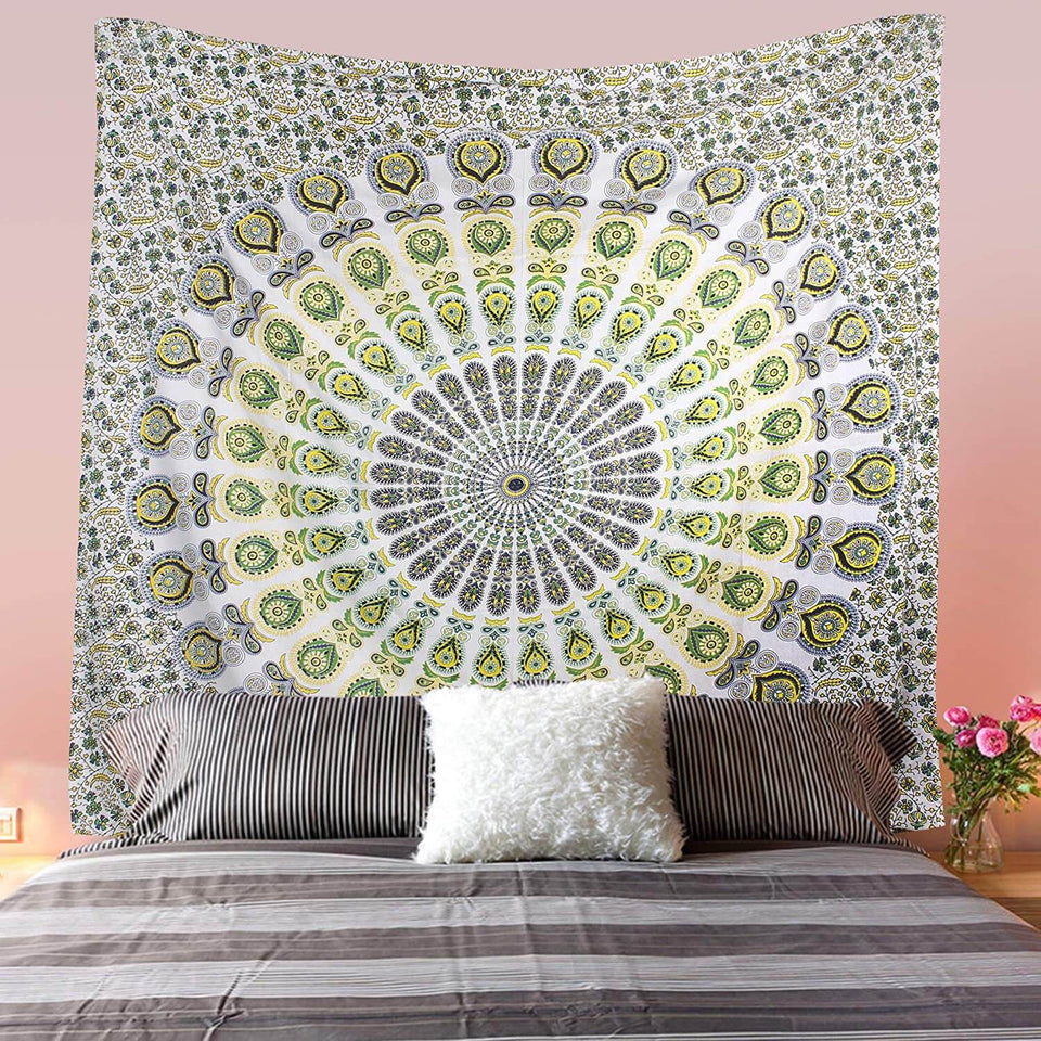 Bless International Indian Hippie Bohemian Psychedelic Peacock Mandala Wall Hanging Bedding Tapestry (Yellow Green, Twin(54x72Inches)(140x185cms)