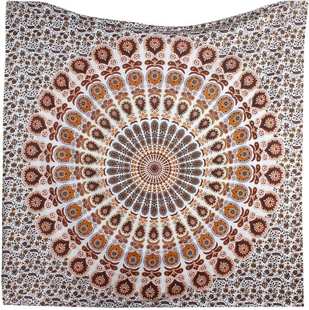 Bless International Indian Hippie Bohemian Psychedelic Peacock Mandala Wall Hanging Bedding Tapestry (Orange Brown, Queen(84x90Inches)(215x230Cms))