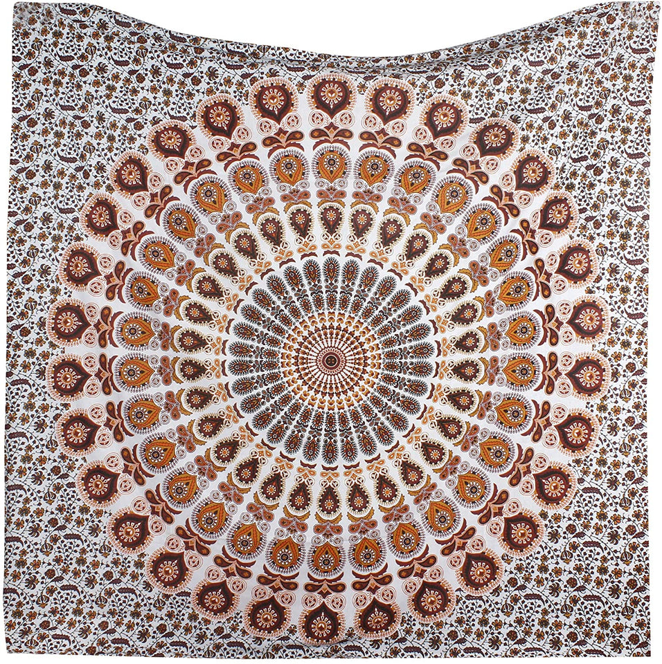 Bless International Indian Hippie Bohemian Psychedelic Peacock Mandala Wall Hanging Bedding Tapestry (Orange Brown, King(88x104Inches)(225x265Cms))