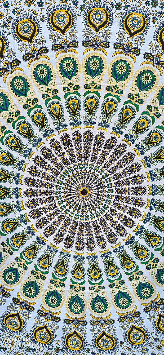 Indian hippie Bohemian Psychedelic Peacock Mandala Wall hanging Bedding Tapestry (Yellow Green, Queen Size (84x90Inches)(215x230Cms)