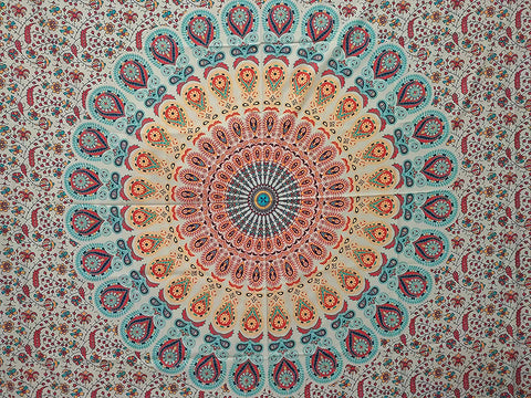 Bless International Indian Hippie Bohemian Psychedelic Peacock Mandala Wall Hanging Bedding Tapestry (Golden Red, Digital HD Print Twin)(57x50 Inches)