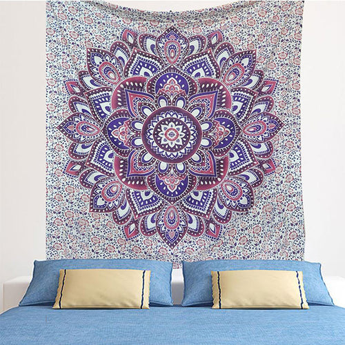 Indian Blue Purple Hippie Ethnic Bohemian Psychedelic Ombre Mandala Handmade Tapestry - Bless International - Tapestries & Handicraft Exporter & Retailer - 1