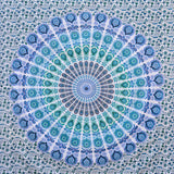 Indian Peacock Hippie Ethnic Bohemian Psychedelic Mandala Twin Tapestry - Bless International - Tapestries & Handicraft Exporter & Retailer - 2