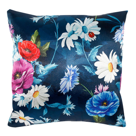Blue Bouquet of Poppy Flower Pillow-case Cushion-cover-16x16-inch