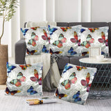 Blooming Flowers and Flying Butterflies Pillow-case Cushion-cover-16x16-inch