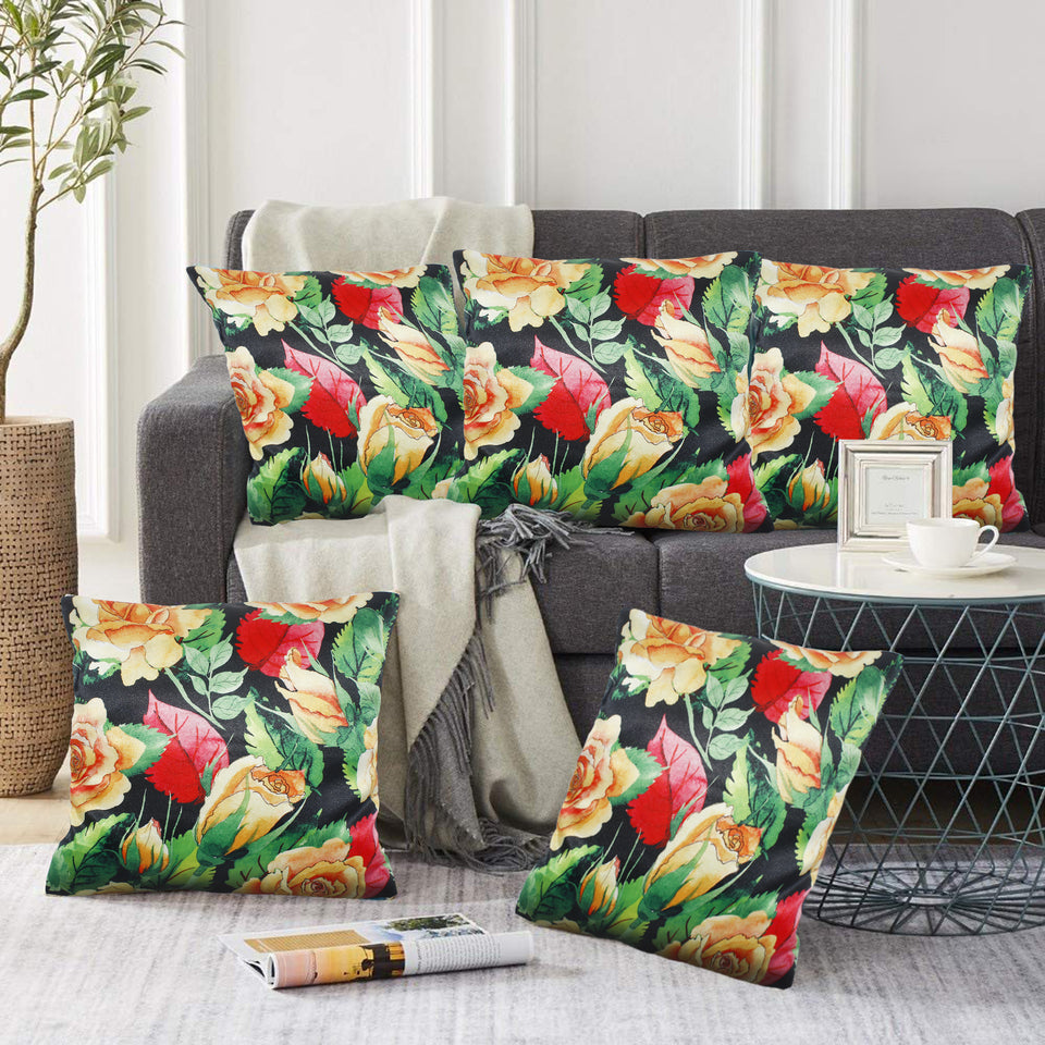 Yellow Red Flowers Pillow-case Cushion-cover-16x16-inch