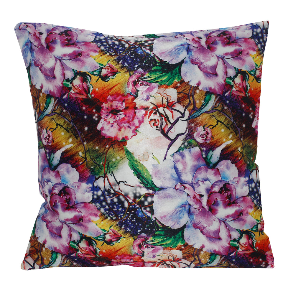 Pink Multi Flower Pillow-case Cushion-cover-16x16-inch