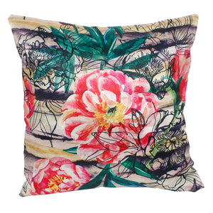 Pink Black Flower Pillow-case Cushion-cover-16x16-inch