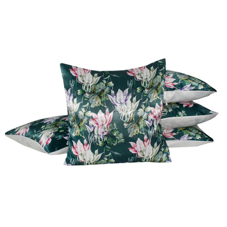 Pink Green Flower Pillow-case Cushion-cover-16x16-inch