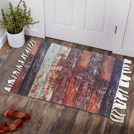 Vintage Wood Weathered Antique Home and Kitchen Rug