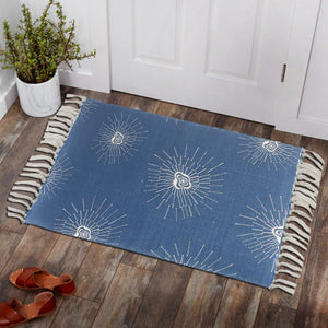 Seamless Blue Silhouettes Home and Kitchen Rug