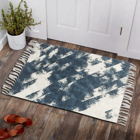 Snow Christmas Wood Texture Home and Kitchen Rug