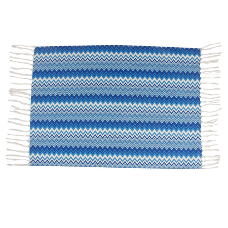 Zig-Zag Torn Chevron Blue Home and Kitchen Rug
