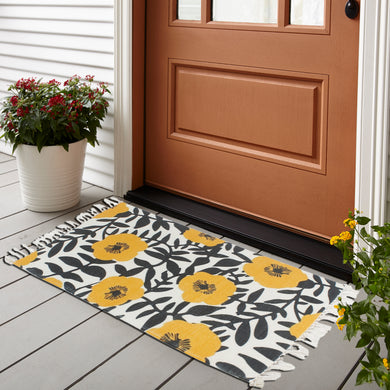 Watercolor Flowers and Leafs Home and Kitchen Rug
