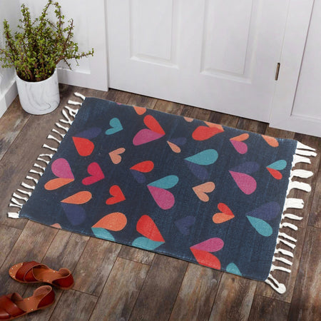 Colorfull Hearts Blue Background Home and Kitchen Rug