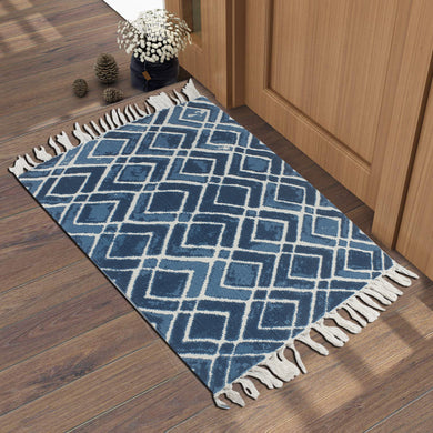 Classic Torn Chevron Navy  Home and Kitchen Rug