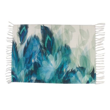 Nature Peacock Feathers Blue Home and Kitchen Rug