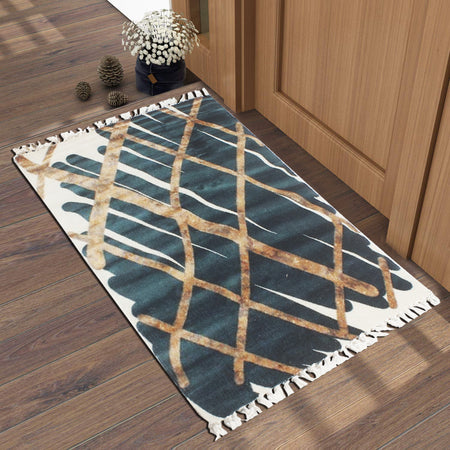 Checkered Goldlines Dark Blue  Home and Kitchen Rug