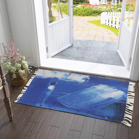 Cyan Watercolor Vintage Pattern Home and Kitchen Rug