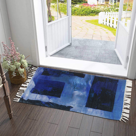Cyan Vintage Splash Abstract Home and Kitchen Rug
