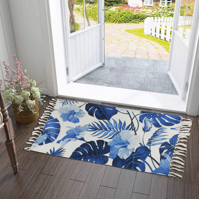 Blue Hawaiian Hibiscus Home and Kitchen Rug