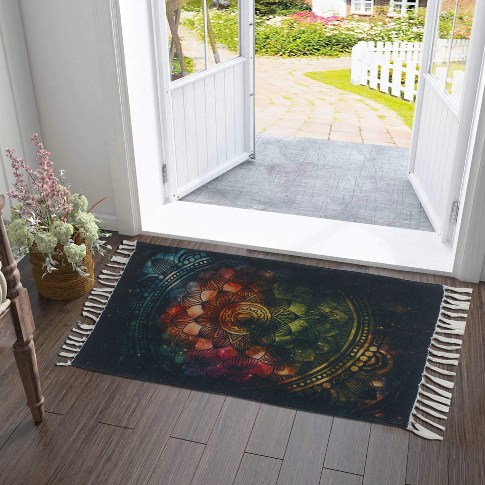 Limitless Green Red Mandala  Home and Kitchen Rug