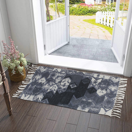 Abstract Monochrome Texture Home and Kitchen Rug