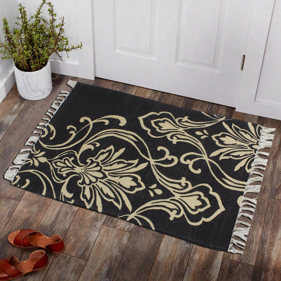 Dark Mandala Garland Isolated Home and Kitchen Rug