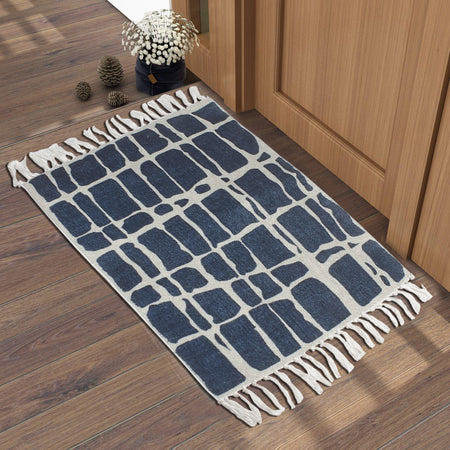 Checkered Pattern Blue White Home and Kitchen Rug