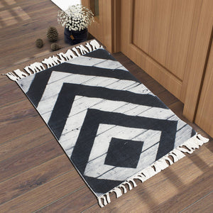 Wooden Plank Black White Home and Kitchen Rug