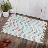 Multicolor Flowers Zig-Zag Home and Kitchen Rug