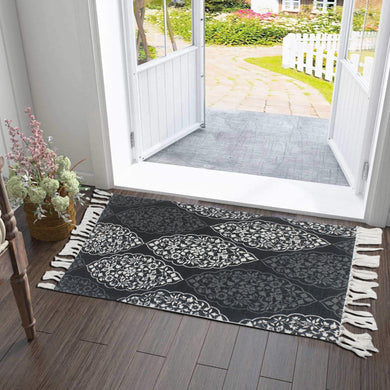 Ethnic Mandala Ornament Black Home and Kitchen Rug