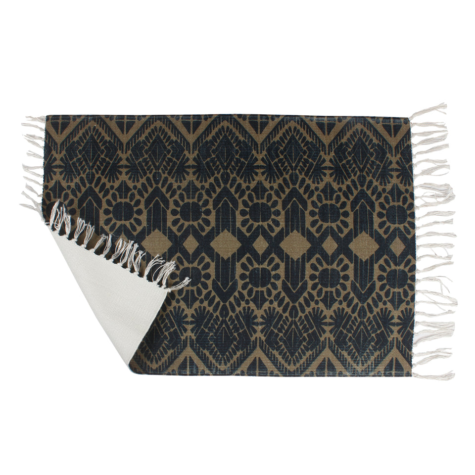 Dark Gold Vintage Elements Home and Kitchen Rug