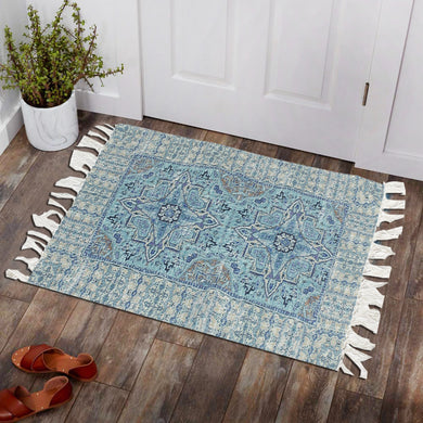 Indigo Floral Isolated Blue Home and Kitchen Rug