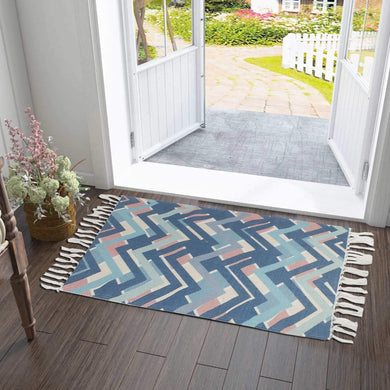 Colorful Zig-Zag Multilines White Home and Kitchen Rug