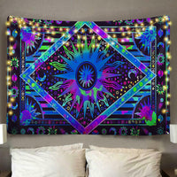 Digital Celestial sun Polyester Tapestry (Twin((72x41 Inches)(183x104cms))