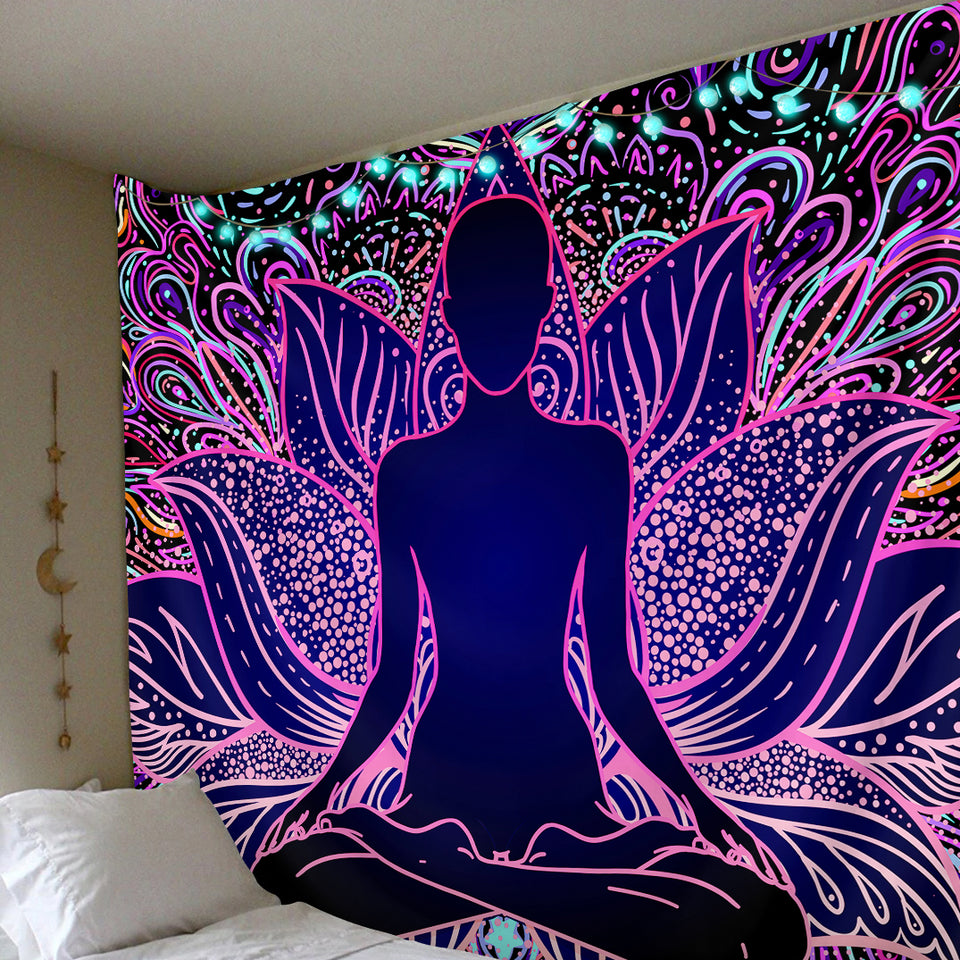 Polister Digital Pyschedelic Lotus Tapestry (Twin((72x41 Inches)(183x104cms))
