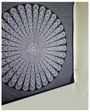 Indian Peacock Black White Hippie Ethnic Bohemian Psychedelic Mandala Large Handmade Tapestry - Bless International - Tapestries & Handicraft Exporter & Retailer - 3