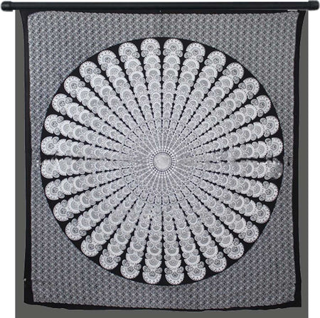 Indian Peacock Black White Hippie Ethnic Bohemian Psychedelic Mandala Large Handmade Tapestry - Bless International - Tapestries & Handicraft Exporter & Retailer - 4